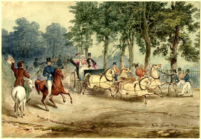 Акварель 1840 года, изображающая попытку убийства Эдвардом Оксфордом королевы Виктории.