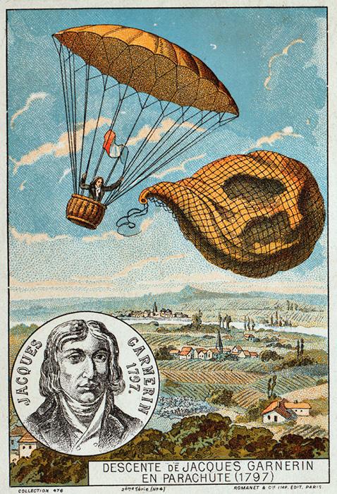 Прыжок Андре Гарнерена в 1797 году.