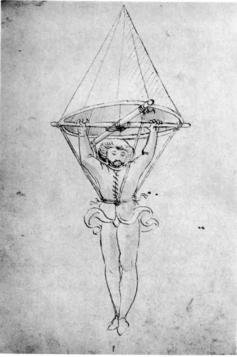 Первое изображение парашюта в рукописи неизвестного итальянского автора 1470-х годов.