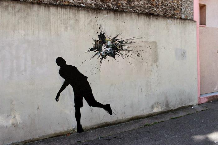 Вандал-изм - интересная работа на улице Мане в Париже.