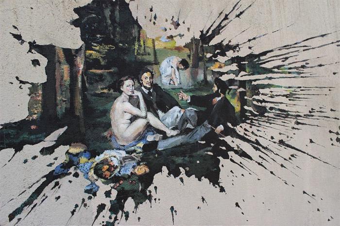 В кляксе на стене «прячется» картина известного французского художника.