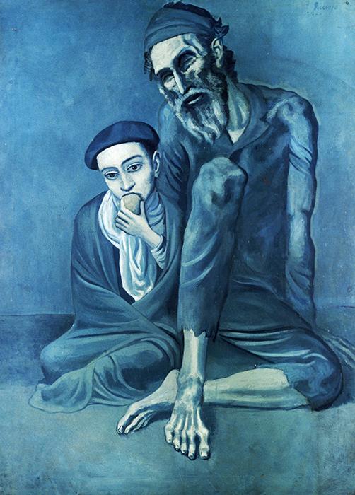 Картина *Нищий с мальчиком* времени так называемого Синего периода Пикассо.
