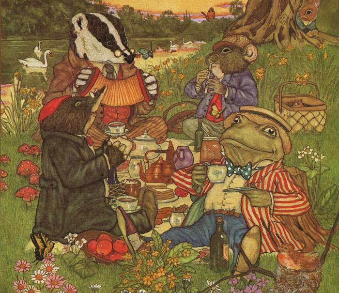 Э. Г. Шепард иллюстрация к книге Кеннета Грэма *Ветер в ивах*.