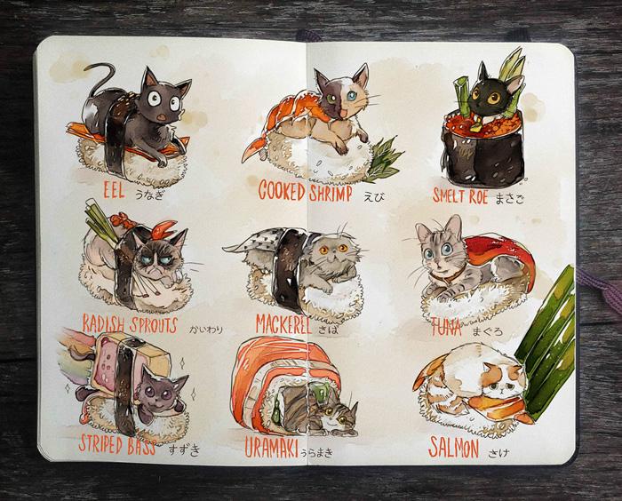 Котики-суши.