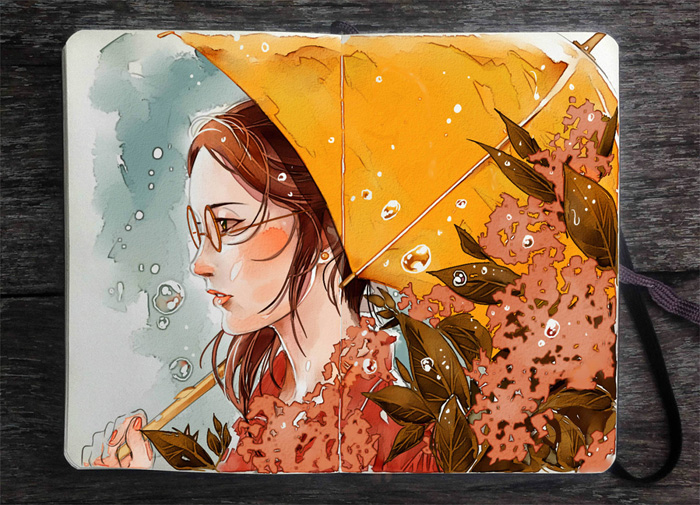 Рисунки в скетч-буке от Gabriel Picolo.