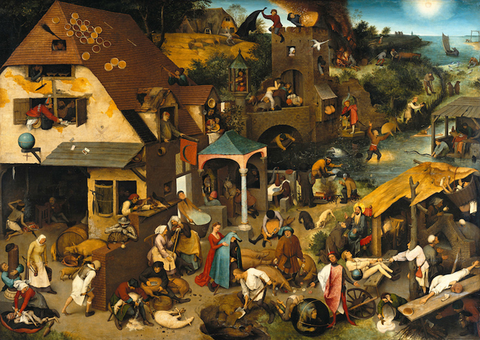 Картина Питера Брейгеля *Фламандские пословицы*.