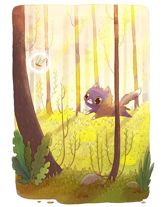 В большом лесу.