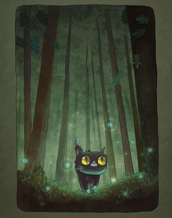 Ночью в лесу.