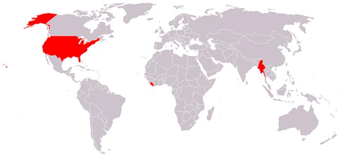 Красным цветом отмечены регионы, не использующие метрическую систему как основную.