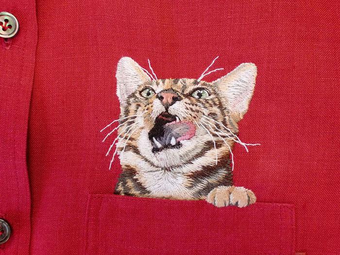 Облизывающийся кот.  Автор: Hiroko Kubota.