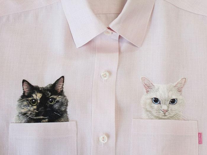 Рубашки с вышивкой котика