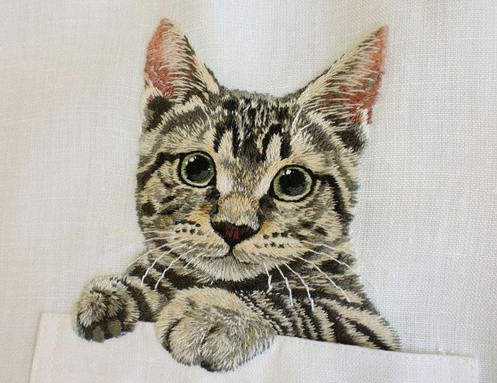 Вышивка кошки японская