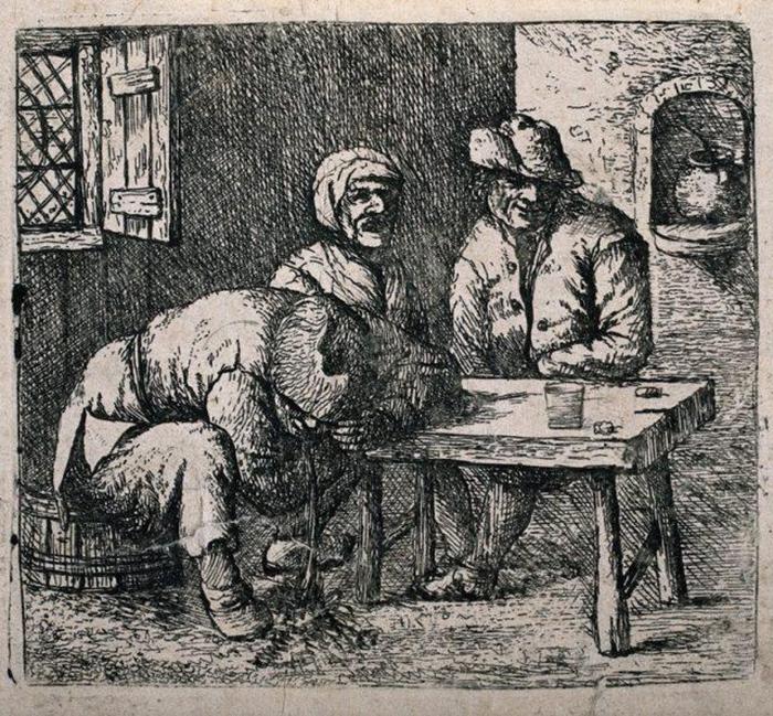 Три крестьянина в баре, одного из которых рвет. 1784 год.