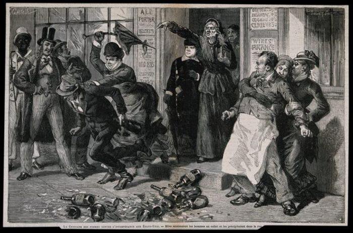 Женщины выгоняют пьяниц из бара. 1875 г.