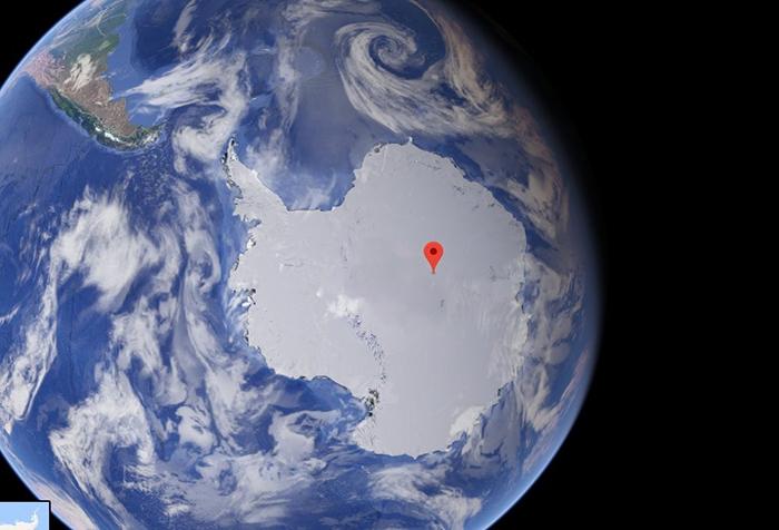 Южный полюс недоступности находится в стороне от географического Южного Полюса.