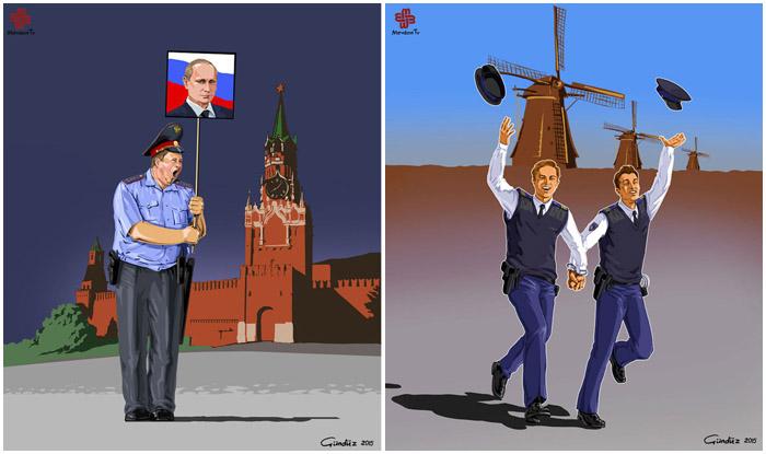 Образ полицейских из разных стран.