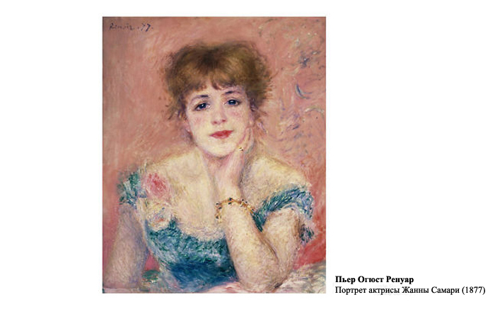 Пьер Огюст Ренуар. Портрет актрисы Жанны Самари (1877).
