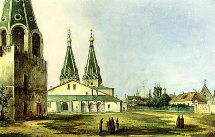 Алексеевский монастырь.  Картина Карла Рабуса, 1838.
