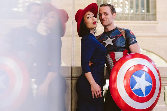 Пегги Картер и капитан Америка.