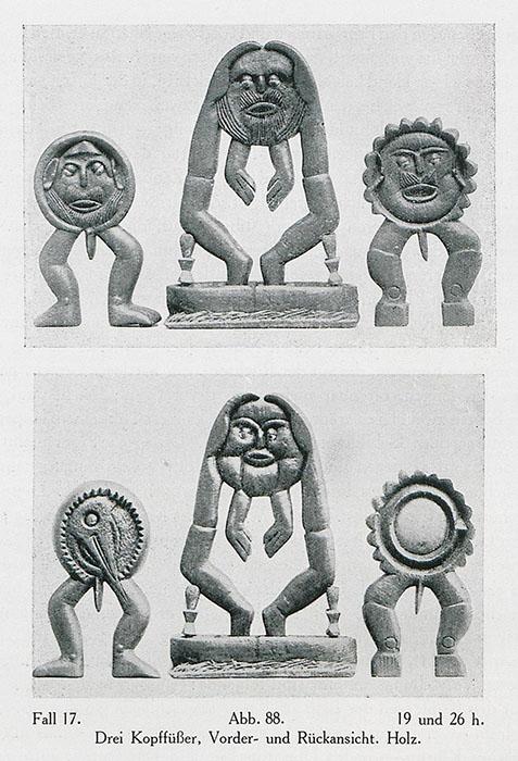 «Три статуэтки» (вид спереди и сзади), дерево.