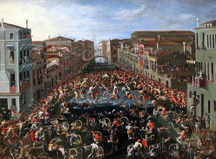 Соревнования на Мосту Дей Пуньи в Венеции. Джозеф Хайнц младший. 1673г.