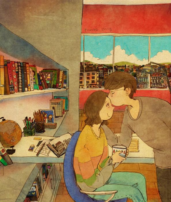 Любовь - это поцеловать ее, когда просто проходишь мимо.
