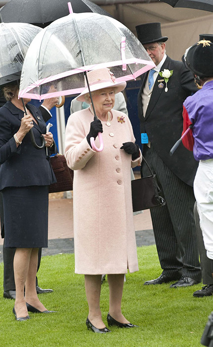 Зонтики Birdcage, которые использует королева, можно купить в магазине Fulton.