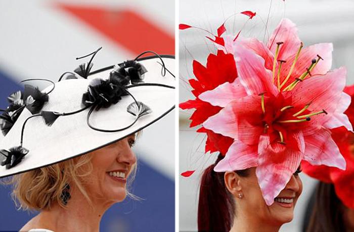 Монохромная шляпка или яркий акцент? Оба тренда были в почете в этом году на скачках в Аскоте.