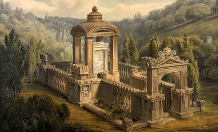 Картина Джорджа Бейзеви, изображающая мавзолей Элизы Соун.