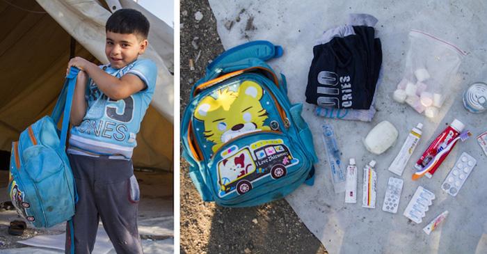 Фотографии беженцев и содержимого из сумок.