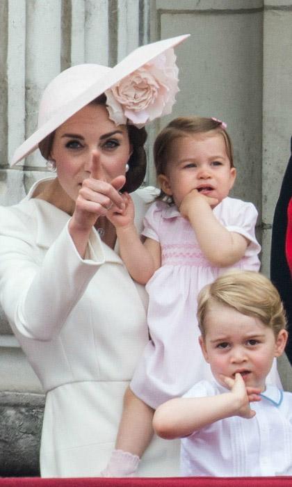 Герцогиня привлекает внимание детей к летящему самолету. Фото: Samir Hussein.
