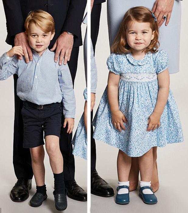 На маленьком Джордже надеты шорты и полосатая рубашка, а на Шарлотте - голубое платье в цветочек.