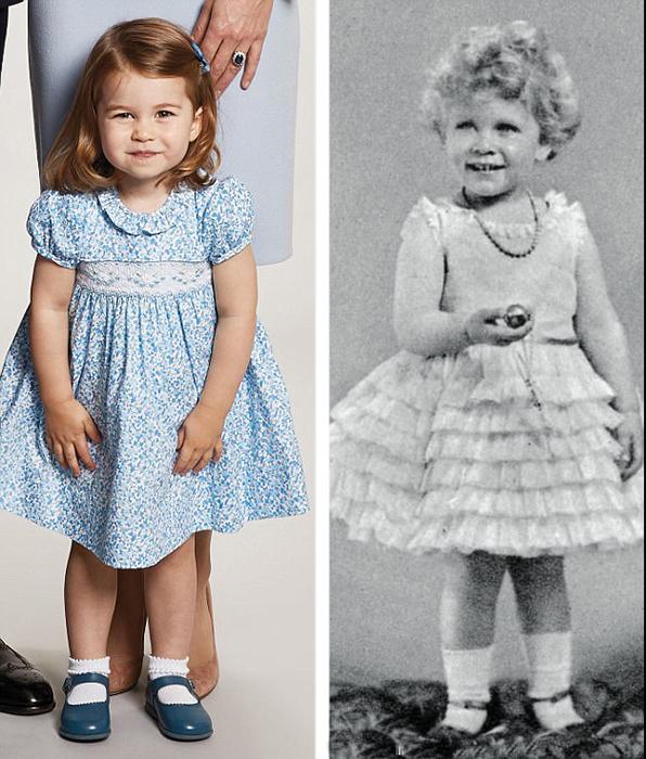 Принцесса Шарлотта и нынешняя королева Великобритании в возрасте двух лет в 1928 году.