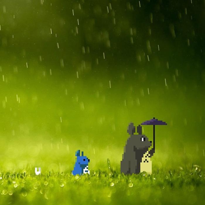 Тоторо под дождем.
