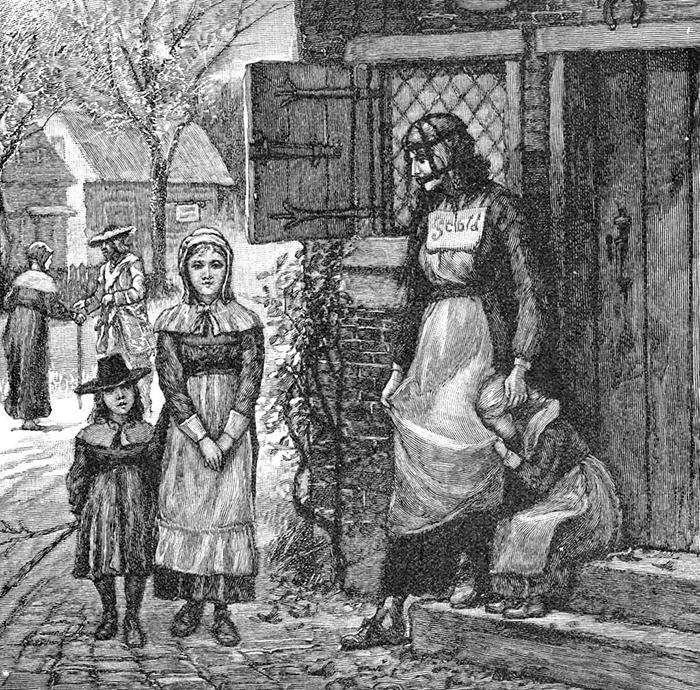 Литография 1885 года. Женщина в маске в Новой Англии.