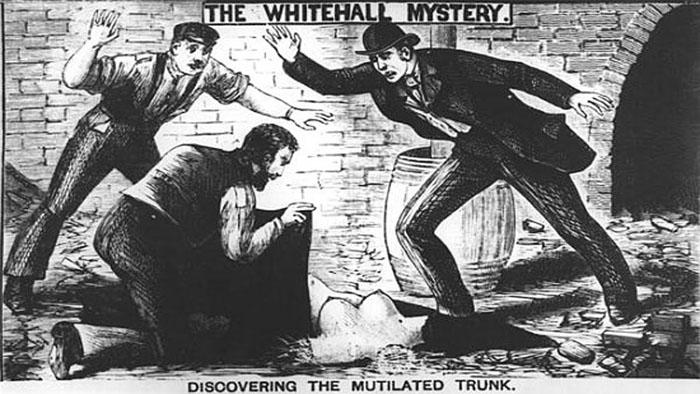 Старая гравюра, изображающая дело Уайтхолл.