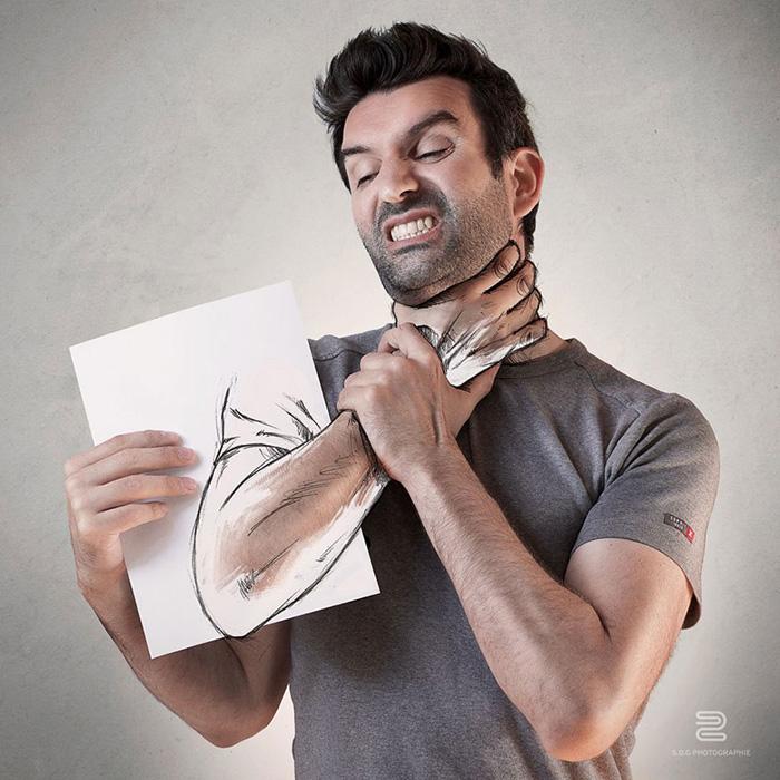 Взаимодействие фотографии и рисунка.
