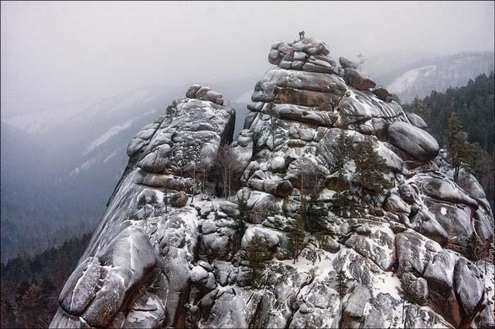 Заповедник «Столбы» зимой.