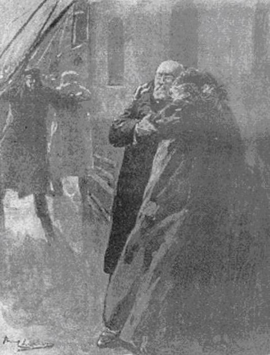 Рисунок Пола Тириата, опубликованный в французской газете 20 апреля 1912, изображает последние минуты Иды и Исидора Штраус.