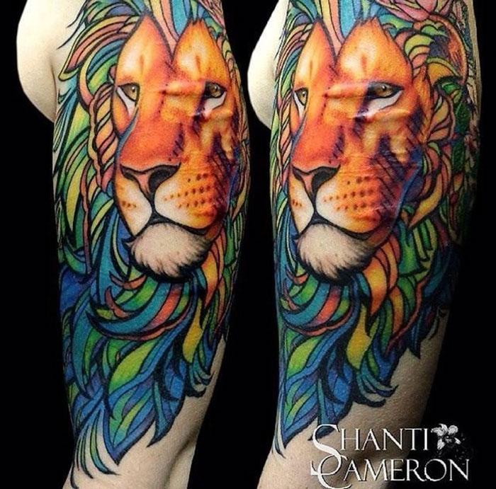112Не цветные тату лев на руку