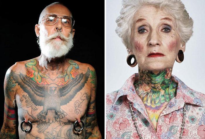 Пожилые люди с татуировками.
