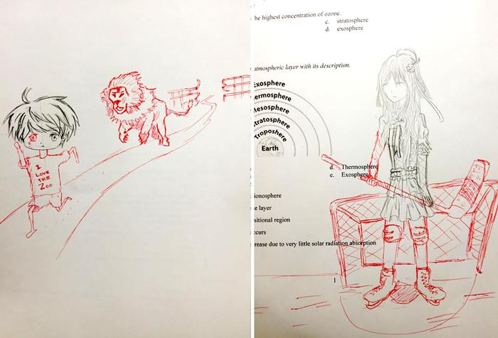 Креативный школьный учитель дополняет рисунки своих учеников.