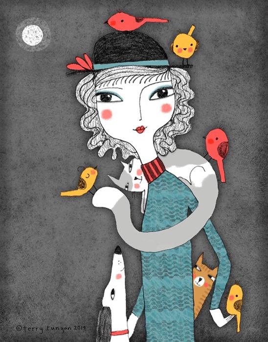 Любительница птичек. Автор: Terry Runyan.