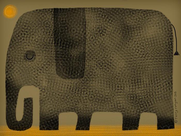 Слон дремает. Автор: Terry Runyan.