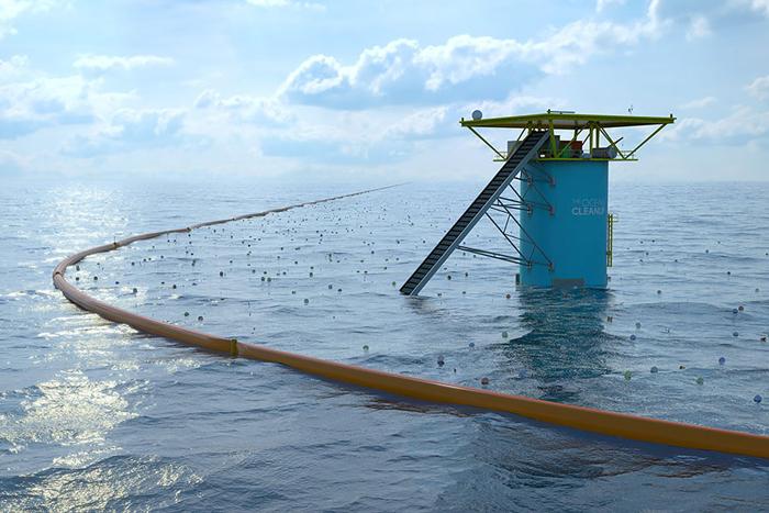 Концепт очистительной системы состоит из заградительных поплавков и платформы для сбора мусора.