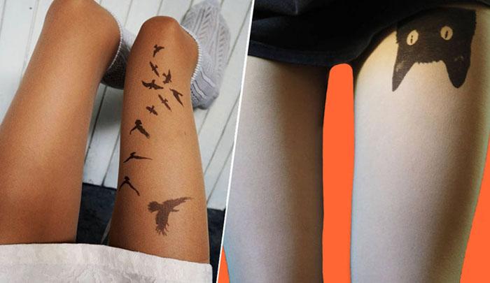 Колготки с татуировками от дизайнера из Болгарии.