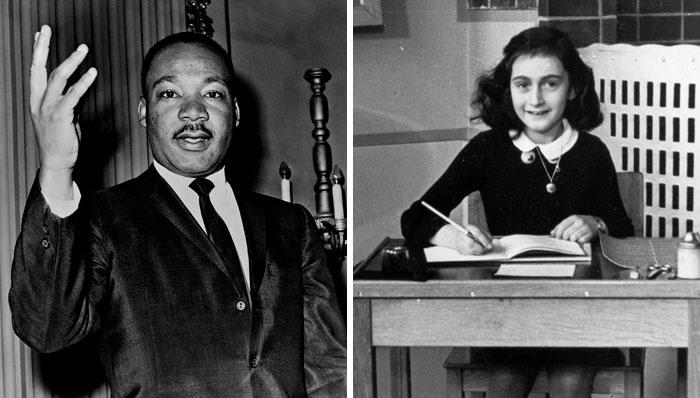 Анна Франк и Мартин Лютер Кинг.
