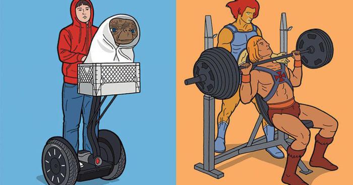 E.T. прогуливается на сигвее, в то время как Хи-Мен показывает мастер-класс в тренажерном зале. Автор: Tom Ward.