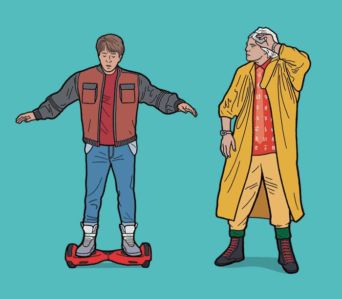 Марти МакФлай балансирует на ховерборде. Автор: Tom Ward.