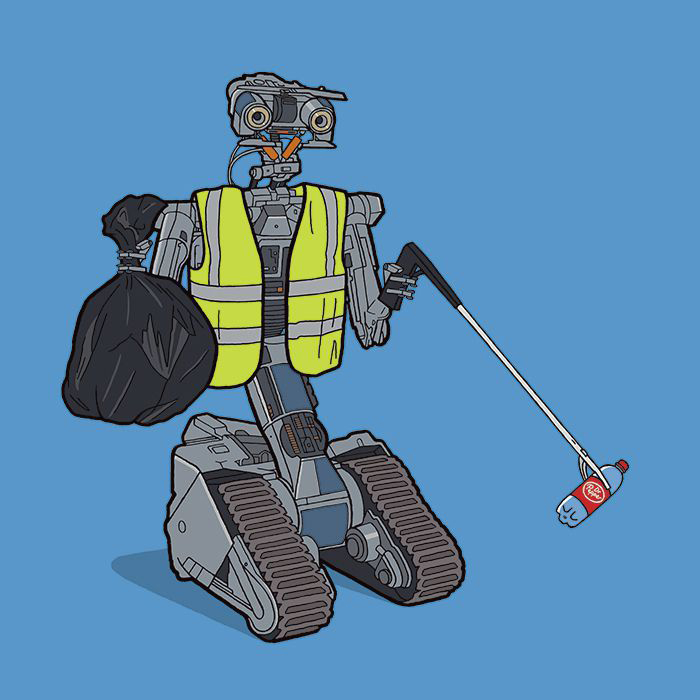 Робот из *Короткого замыкания* подбирает пластиковую бутылку.  Автор: Tom Ward.